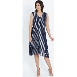 Liz Jordan Short Sleeveless V Neck Spot Mesh Dress - Navy Blazer - 10 found on Bargain Bro from Noni B Limited for USD $12.91