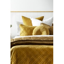 Windsor Quilted Velvet Pillowcases Set Of 2 - Old Gold - One Size found on Bargain Bro from Noni B Limited for USD $20.55