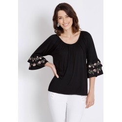 Rockmans 3/4 Double Embroidered Frill Sleeve Top - Black - L found on Bargain Bro India from Rockmans for $3.32