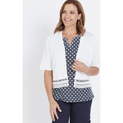Millers Crochet Trim Cardigan - White - XXXL found on Bargain Bro India from Rockmans for $7.39