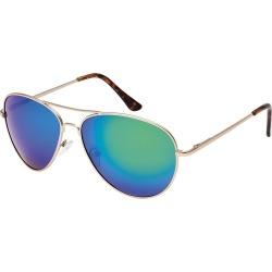 Black Ice Unisex Matt Gold Frame Green Mirror Lens Sunglasses - ONE