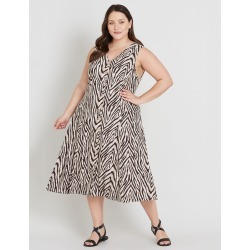 Beme Sleeveless Button Through Midi Dress - Animal - 14 found on Bargain Bro India from crossroads for $27.77