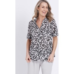 Millers Short Sleeve Button Through Voile Shirt - Navy Beige Ditsy - 10 found on Bargain Bro India from W Lane for $11.66