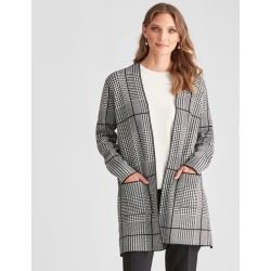 Liz Jordan Long Line Houndstooth Check Cardi - Black - S found on Bargain Bro from Noni B Limited for USD $44.03