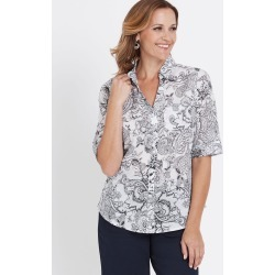 Millers Short Sleeve Button Through Voile Shirt - White Black Fleur De - 14 found on Bargain Bro India from Rockmans for $13.29