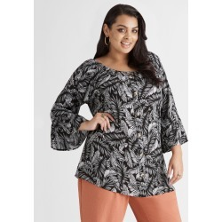 Beme 3/4 Slv Button Through Top - Black Multi - 16 found on Bargain Bro Philippines from crossroads for $30.65