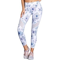 White Cutout Insert Floral Yoga Leggings found on Bargain Bro Philippines from crossroads for $79.86