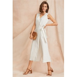 Grace Hill Textured Linen Wrap Jumpsuit - Ivory - 12 found on Bargain Bro Philippines from crossroads for $35.36