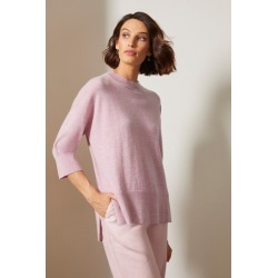 Grace Hill Cashmere Blend Boxy Sweater - Mauve - S found on Bargain Bro from crossroads for USD $61.64