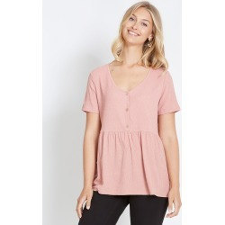 Rockmans Short Sleeve Textured Peplum Top - Pink - M found on Bargain Bro India from Rivers for $9.33