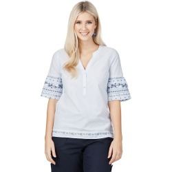 Rockmans Elbow Sleeve Blue Stripe Emb Shirt - Multi - 8 found on Bargain Bro from Noni B Limited for USD $8.88