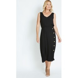 Rivers Short Sleeve Button Detail Textured Dress - Black - 8 found on Bargain Bro from Rockmans for USD $20.28