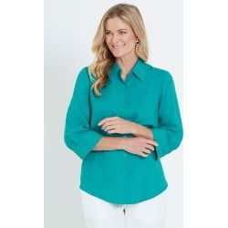 Noni B 3/4 Sleeve Linen Shirt - Peacock - 10 found on Bargain Bro from Noni B Limited for USD $14.94