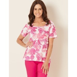 Millers Short Sleeve Printed Top - Pink Leaves found on Bargain Bro Philippines from crossroads for $5.74