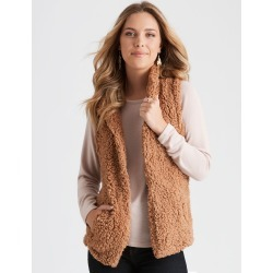 Rockmans Sleeveless Shearling Hi Lo Gilet - Toffee - 8 found on Bargain Bro India from crossroads for $19.44