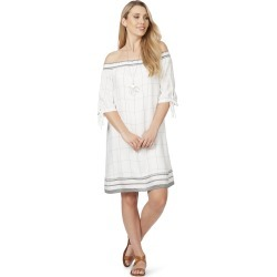 Rockmans Elbow Sleeve Check Off Shoulder Dress - White Multi - 8 found on Bargain Bro from W Lane for USD $10.23
