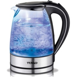 Todo 1.7l Glass Cordless Kettle 2200w Blue Led Light Electric Water Jug - Black - One found on Bargain Bro from Noni B Limited for USD $23.42