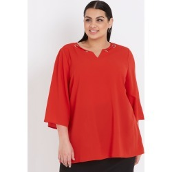 Beme 3/4 Sleeve Diamonte Eyelet Top - Red found on Bargain Bro India from crossroads for $19.26