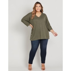 Beme 3/4 Sleeve Hardware Trim Pretend Knit Top - Khaki Marle found on Bargain Bro India from crossroads for $26.97