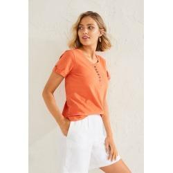 Capture Shortsleeve Cotton Henley - Orange - 12 found on Bargain Bro from crossroads for USD $15.46