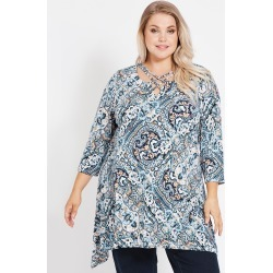 Beme 3/4 Sleeve Loop Neck Tunic - Green Paisley - XS found on Bargain Bro India from crossroads for $15.43