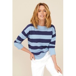 Capture Textured Stripe Sweater - Blue Stripe - XXL found on Bargain Bro Philippines from Noni B Limited for $33.20