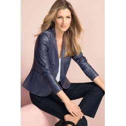 Grace Hill Leather Jacket - Navy - 8 found on Bargain Bro from Noni B Limited for USD $140.31