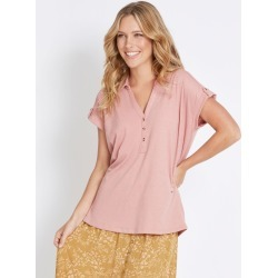Rockmans Short Sleeve Shirt Style Textured Top - Damask - XL found on Bargain Bro India from crossroads for $9.33