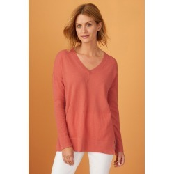Capture Lambswool Pointelle V Sweater - Melon - XS found on Bargain Bro Philippines from Rivers for $28.77