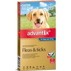 Advantix Extra Large Dog 25kg & Over Blue Spot On Flea & Tick Treatment 6 Pack - Multi
