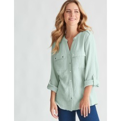 Rockmans Long Sleeve Textured Cotton Shirt - Spearmint - 14 found on Bargain Bro India from Rivers for $15.55