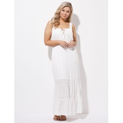 Crossroads Lace Up Maxi Dress - Solid White - 20 found on Bargain Bro Philippines from Rockmans for $21.30