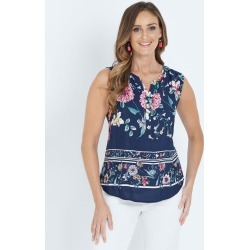 W.lane Floral Border Print Top - Multi - 18 found on Bargain Bro from BE ME for USD $45.08