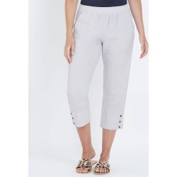 W.lane Button Crop Linen Pant - Silver Xdye - 8 found on Bargain Bro India from Rockmans for $10.65