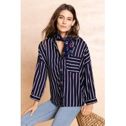 Capture Stripe Roll Sleeve Shirt - Navy Stripe - 10 found on Bargain Bro Philippines from Rivers for $14.75