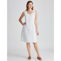 W.lane Textured Stripe Linen Dress - Silver - 8 found on Bargain Bro Philippines from W Lane for $15.72