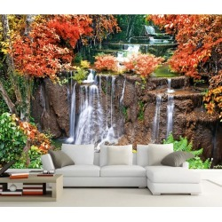 Aj Wallpaper 3d Red Leaf Waterfall 1058 Wall Murals Removable Wallpaper Woven Paper - Multi - XXL found on Bargain Bro from Rockmans for USD $253.30