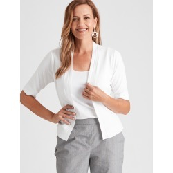 Millers Elbow Sleeve Crop Cardigan - Optic White - S found on Bargain Bro India from Rockmans for $8.86