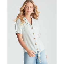 Rockmans Short Sleeve Collard Shirt - Seahaze - 8 found on Bargain Bro India from Rivers for $11.66