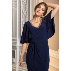 European Collection Beaded V Neck Dress - Navy - 38 found on Bargain Bro India from W Lane for $76.24