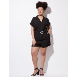 Crossroads Short-sleeve Utility Playsuit - Black found on MODAPINS from crossroads for USD $25.60