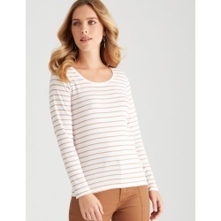 Rockmans Long Sleeve Crew Neck Stripe Tee - Caramel/white - Caramel/white - S found on Bargain Bro India from Katies for $7.77
