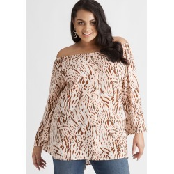 Beme 3/4 Slv Button Through Top - Animal - 16 found on Bargain Bro Philippines from crossroads for $30.65