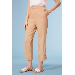 Capture Linen Blend Button Cuff Crop - Clay - 10 found on Bargain Bro India from Rockmans for $23.92