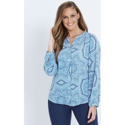 W.lane Tile Print Blouse - Cobalt - 10 found on Bargain Bro India from Rockmans for $19.86