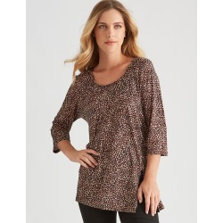 Rockmans 3/4 Sleeve Leopard Asymmetric Tunic - Multi - XS found on Bargain Bro India from Rivers for $19.43