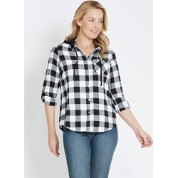 Rivers Hooded Flannel Check Shirt - Black/white Chck - 8 found on Bargain Bro from Noni B Limited for USD $7.05