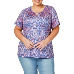 Beme Short Sleeve Print Keyhole Top - Paisley Print - M found on Bargain Bro India from BE ME for $15.43