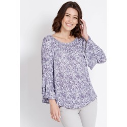 Rockmans Longsleeve Off Shoulder Snake Print Top - Multi - 12 found on Bargain Bro India from Rockmans for $7.24