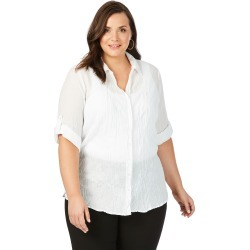 Beme 3/4 Sleeve Embroidered Crushed Shirt - White - 14 found on Bargain Bro India from BE ME for $11.57